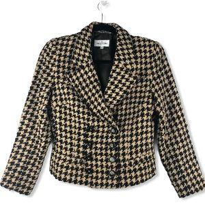Valentino Miss V Houndstooth Cropped Jacket Size 6